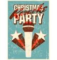 Retro grunge Christmas karaoke party poster vector image