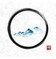 far blue mountains in fog in black enso zen circle vector image