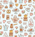 Tea time yummy seamless pattern on light blue vector image vector image