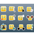 Sport emoticon smile stickers set vector image