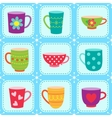 Tea cups pattern vector