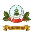 Christmas snow globe icon vector image