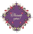 Thank you card with beautiful vintage flowers vector image