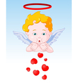 Cupid Blowing Hearts vector image vector image