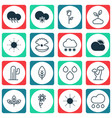 set of 16 landscape icons includes love flower vector image