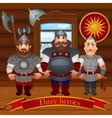 Three characters in the hut in full armor vector image
