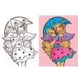 Colouring Book Of Girl With Umbrella vector image