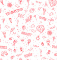 Valentines Day or wedding seamless doodle pattern vector image