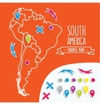 Linear style hand drawn travel map of South vector image