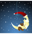 moon and teddy baby greeting card vector image