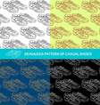 Seamless pattern a pair of casual shoes vector image