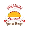 Tacos icon Mexican fast food emblem vector image