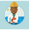 Male worker of solar power plant and wind farm vector image