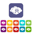 cloud with skull and bones icons set vector image