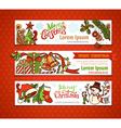 set of Christmas horizontal banners vector image