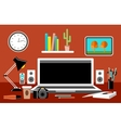 Workplace Empty monitor Office vector image vector image