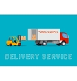 Delivery truck with forklift loading goods vector image