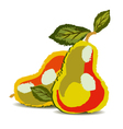 two pears with the leaves vector image vector image