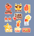cute cartoon set of stickers with short positive vector image