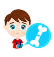 cute sad little boy kid child with broken arm bone vector image