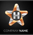 letter h logo symbol in the colorful star on black vector image