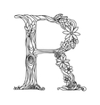 Letter R coloring book for adults vector image