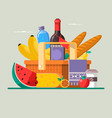 summer picnic concept with basket full of products vector image