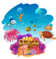 Treassure chest and sea animals underwater vector image