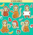 Year of red monkey Doodle set monkeys sticker vector image