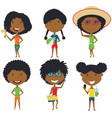summer african-american female characters vector image