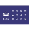 Set of casino simple icons vector image