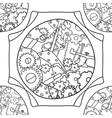 Steampunk black and white doodle seamless pattern vector image