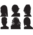 silhouettes of womens heads vector image vector image