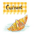 Croissant sketchy card - vector image