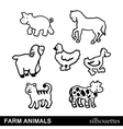 Farm Animals Silhouettes Isolated on White vector image