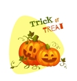 Halloween two pumpkin with sweet smiles vector image