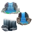 Tropical jungle waterfall set Ice Frozen vector image