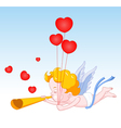 Cupid Blowing Horn with Hearts vector image