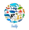 sea ocean cartoon animals fishes poster vector image vector image