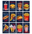 menu cards templates set for fastfood meals vector image