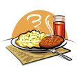mashed potatoes with a cutlet vector image