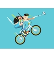Active bicyclist character vector image