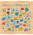 Doodle Social Network Set hand draw set vector image