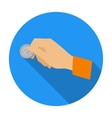 Hand holding coin for parking meter icon in flat vector image