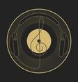 Headphones vintage vinyl clef mono line logo vector image