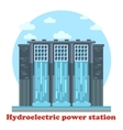 Hydroelectric power station and water falling vector image