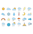Set of 24 Weather forecast icons vector image