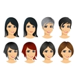 set of young woman avatar vector image