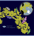 Yellow leaf and butterfly with full moon vector image
