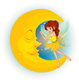 A fairy with a yellow dress beside a sleeping moon vector image vector image
